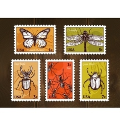 Postage stamps with insects sketch vector