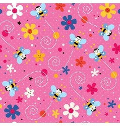 Bees and flowers pattern 2 vector