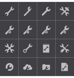 black settings wrench icons set vector image