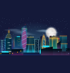 city night in neon lights with full moon in the vector image vector image