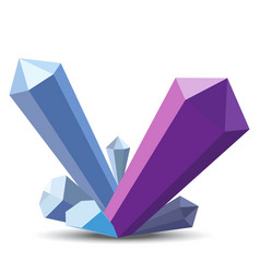 Crystals in flat style on white background vector