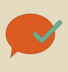 Flat check message flat icon vector