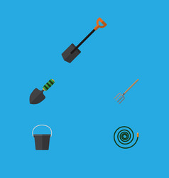 Flat icon garden set of hay fork pail spade and vector