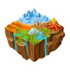 Ground landscape computer game isometric design vector
