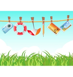 hanging icons on the rope vector image vector image