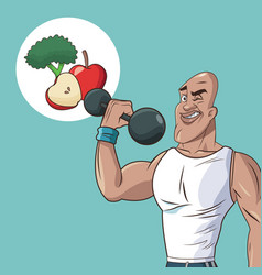 Healthy man athletic weight food diet vector