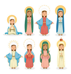 Holy virgins group religious card vector