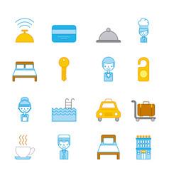 Icon set travel accessories rest vector