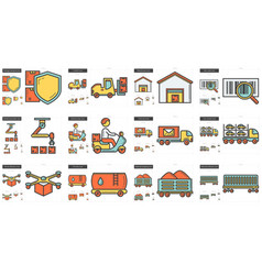 Industry line icon set vector