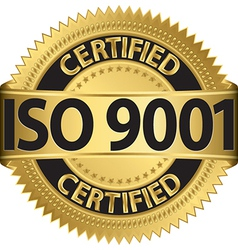 ISO 9001 certified golden label vector image