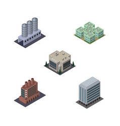 Isometric construction set of company industry vector
