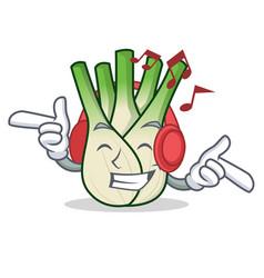 Listening music fennel mascot cartoon style vector