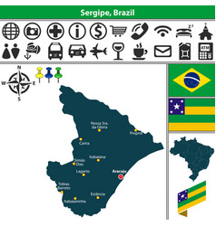 Map of sergipe brazil vector