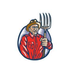 Organic Farmer Holding Pitchfork Woodcut Linocut vector image vector image
