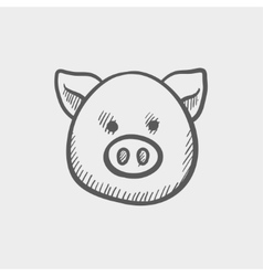 Pig face sketch icon vector