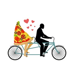 Pizza on bicycle lovers of cycling man rolls a vector