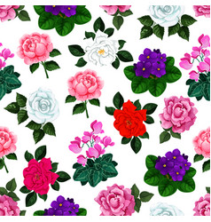 Seamless pattern of garden flowers bouquets vector