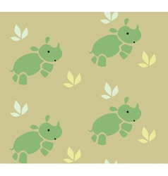 Seamless pattern with funny rhinos vector