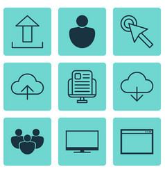Set of 9 internet icons includes data synchronize vector