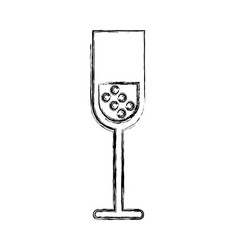 Sketch draw champagne cup cartoon vector