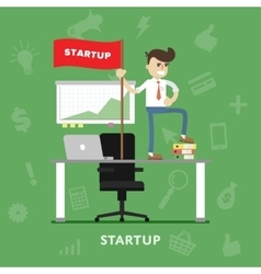 Startup business project process flat vector image