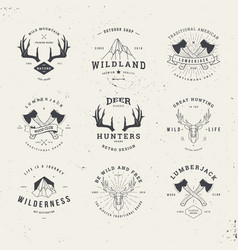 Wildlife hunters logo set vector
