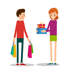 young man standing with shopping bags young girl vector image vector image