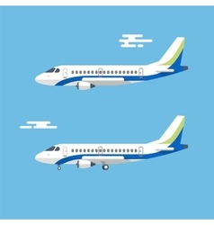Aircraft with wide wings is flying in blue cloudy vector
