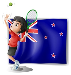 A young tennis player in front of the New Zealand vector image