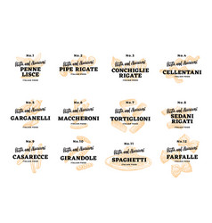 Italian food logos set vector
