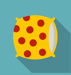 Yellow pillow with red dots icon flat style vector