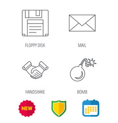 Mail bomb and handshake icons vector