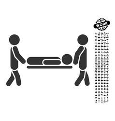 Patient stretcher icon with men bonus vector