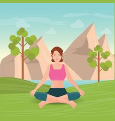 Calm woman is doing yoga and meditation vector