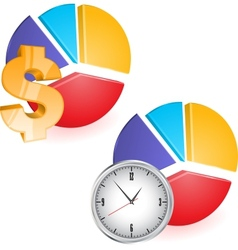 Pie chart with clock vector