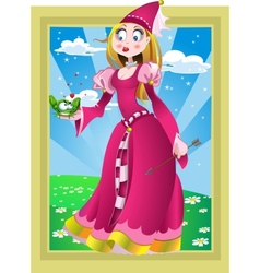Princess in pink and frog in fairy landscape vector