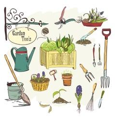 Sef of gardening tools vector image