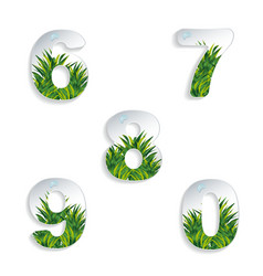 Icons 6 7 8 9 0 numbers with grass effect vector