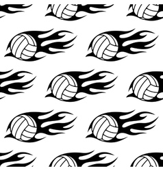 Volleyball ball with tribal flames seamless vector image