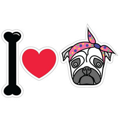 I love pug female pug with tie scarf vector