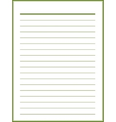 Notebook paper with green lines vector image