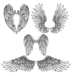 Wings Sketch Set vector image