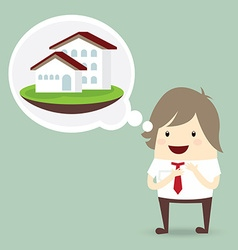 Businessman is happy dream luxury house business vector