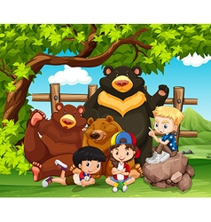 Children and wild bears together vector