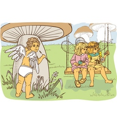 Cupid watching fairies vector image