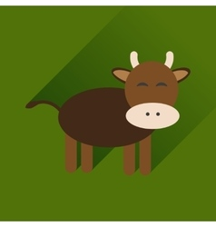 Flat icon with long shadow cow calf vector
