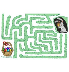 Maze bunny and easter eggs vector