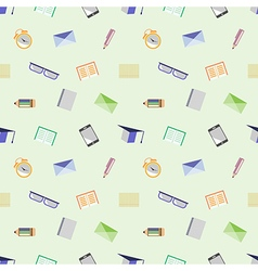Pattern with glasses academic caps letters pens pe vector