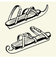 Antique ice skates vector