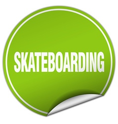 Skateboarding round green sticker isolated on vector